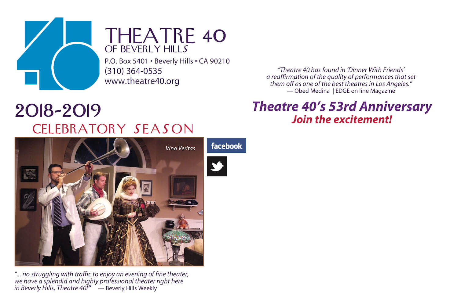 Theatre 40 2018-2019 Season Subscription