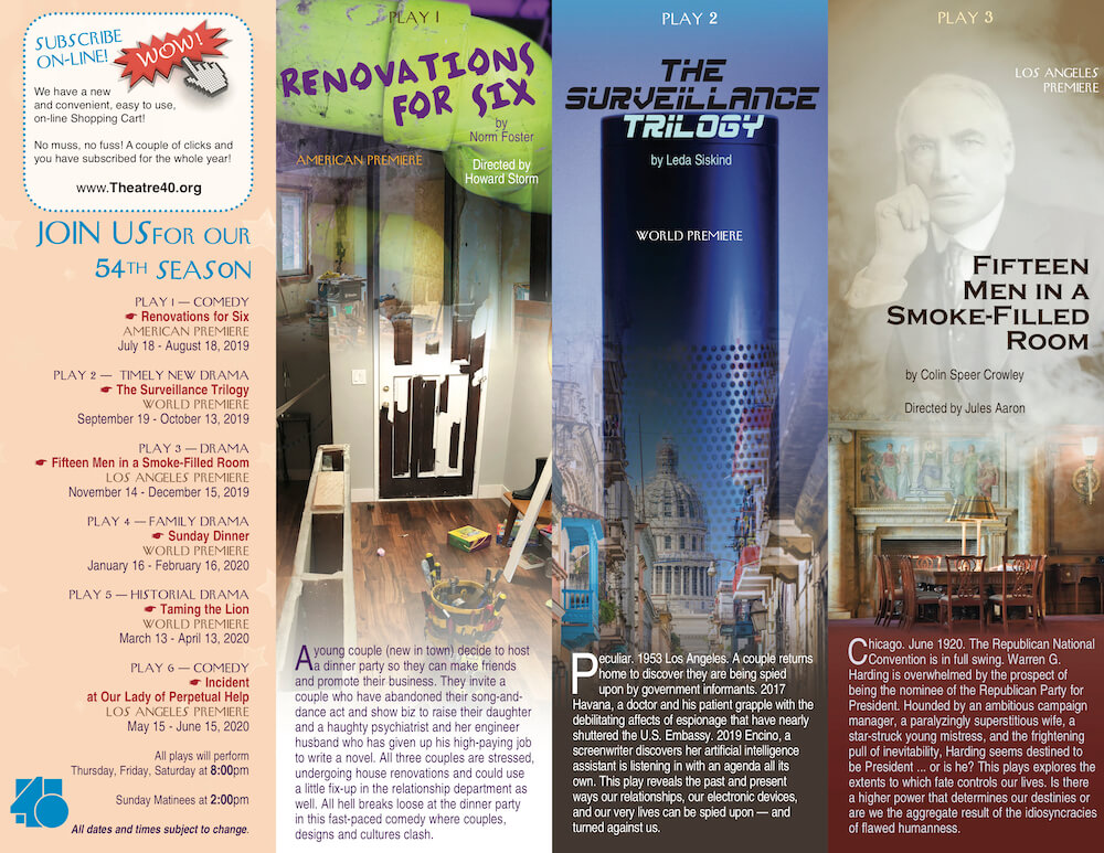 Theatre 40 2019-2020 Season Brochure Page 4