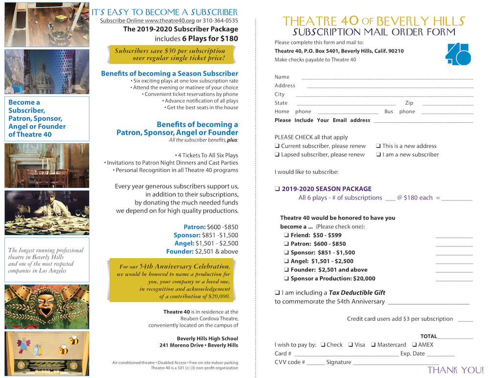 Theatre 40 2019-2020 Season Brochure Page 6