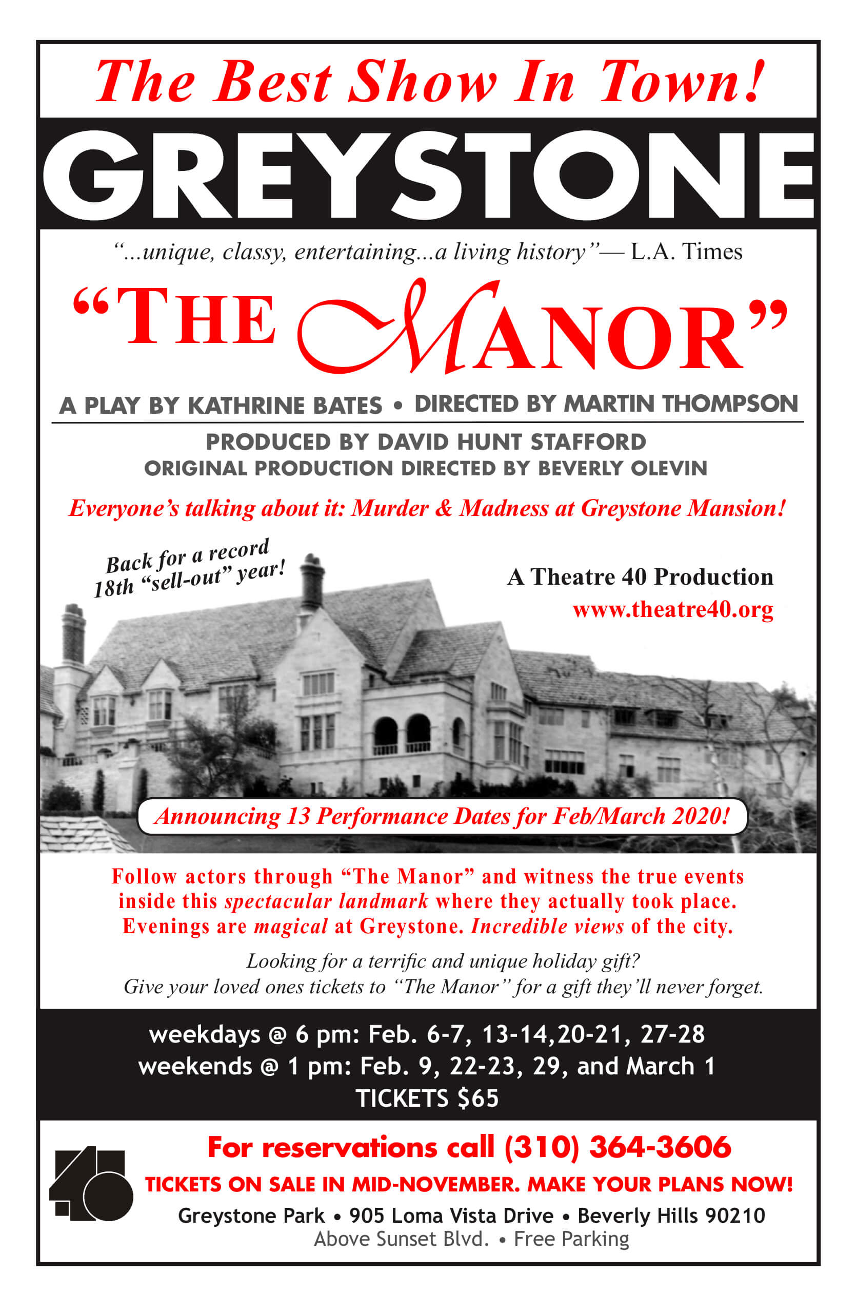 The Manor 2020 at Theatre 40